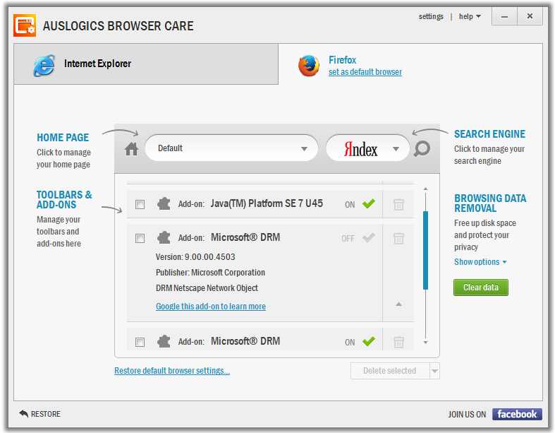 Auslogics Browser Care 1